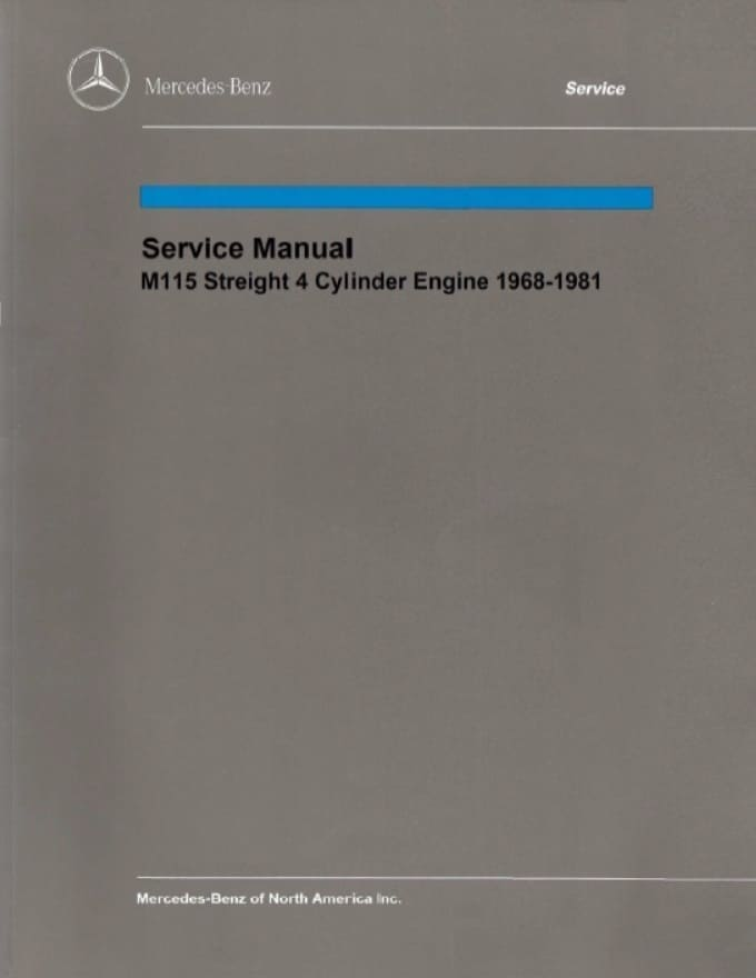 Mercedes Benz M115 Engine Manual