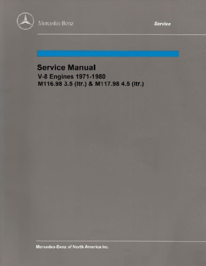 Mercedes Benz M116 M117 Engine Service Repair Manuals