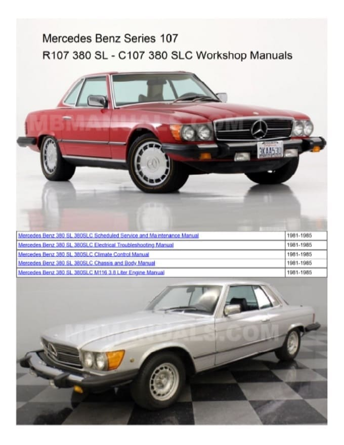 Mercedes R107 380SLC Service Repair Manuals