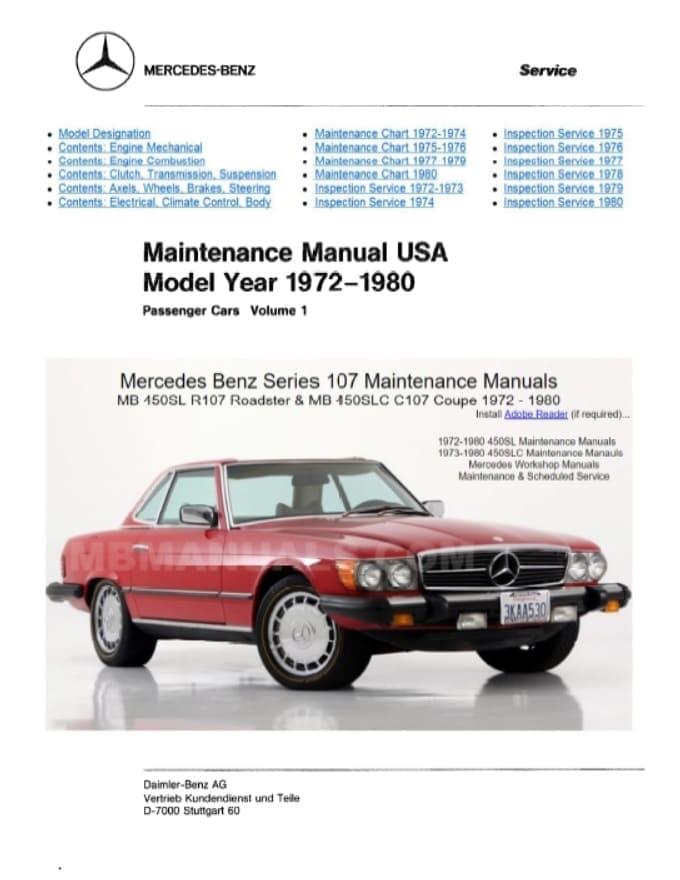 Mercedes Benz C107 450SLC Service Repair Manuals