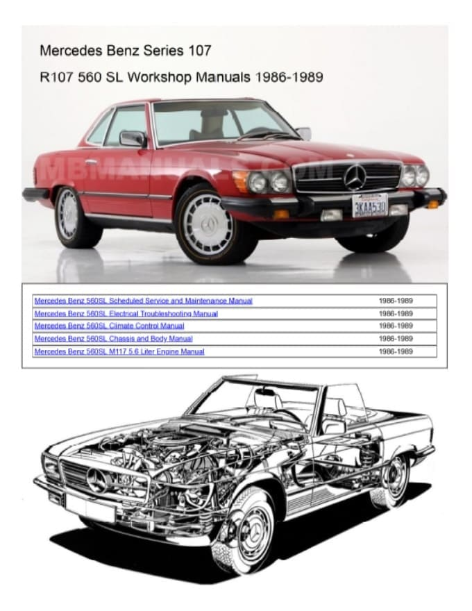 Mercedes M116 M117 V8 Service Workshop Repair Manual R107 560SL 420 560 SEL W126