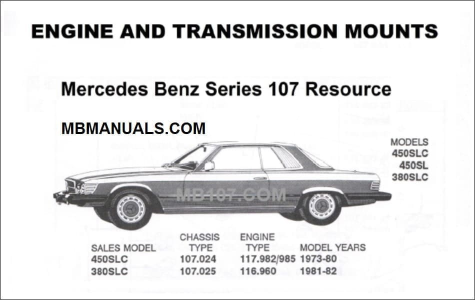 Mercedes Series 107 Motor Mounts Manual