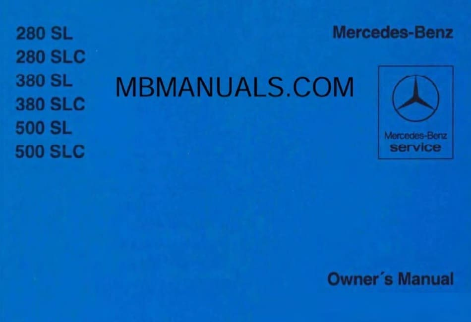 Mercedes Benz C107 280SLC Owners Manual
