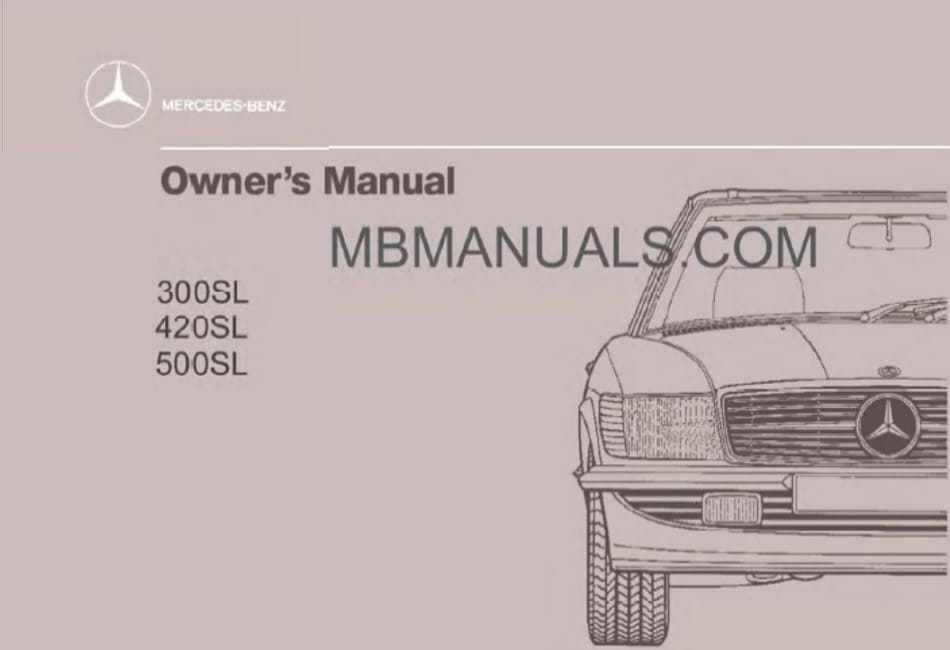Mercedes Benz R107 420SL Owners Manual