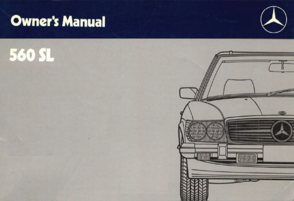 Mercedes Benz R107 560SL Owners Manual