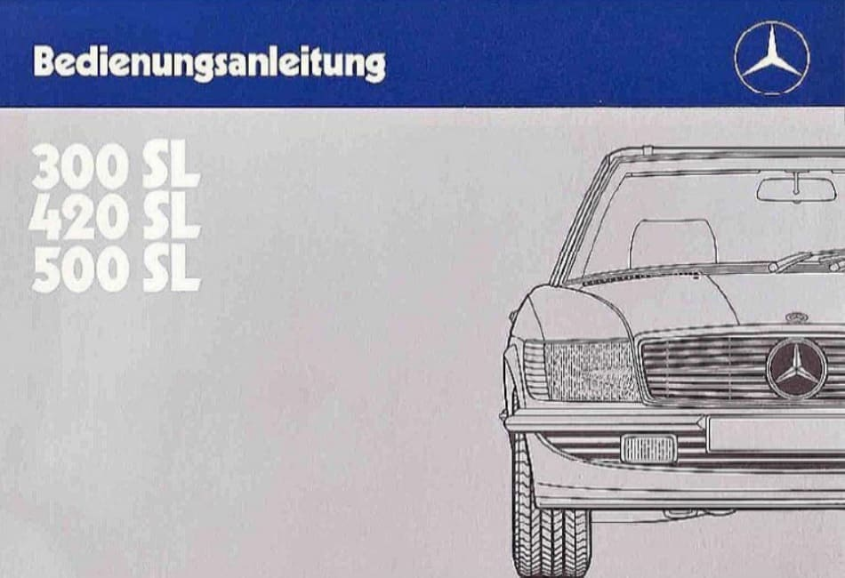 Mercedes Benz R107 500SL Owners Manual