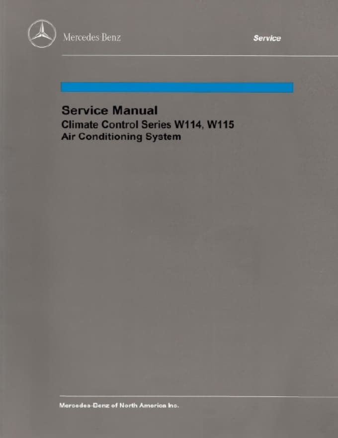 Mercedes W114 Climate Control Manual