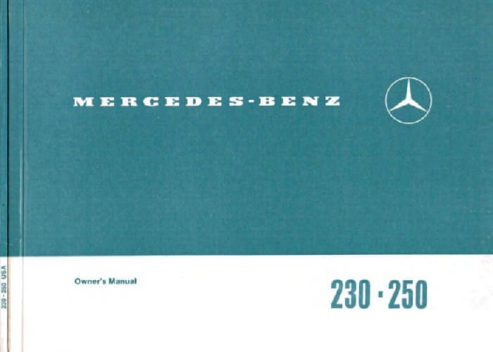 Mercedes W114 230 250 Owners Manual