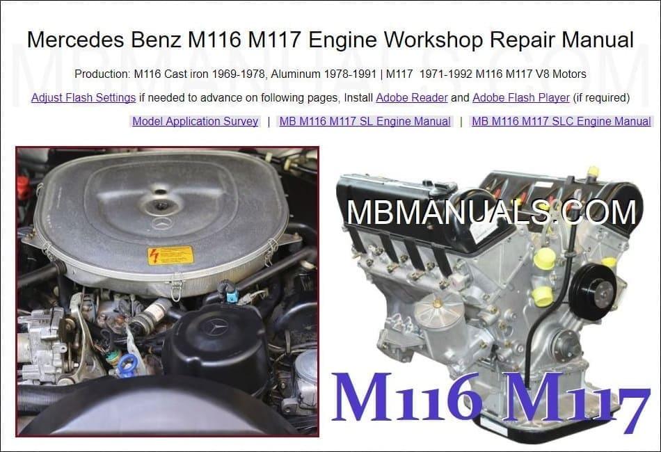 mercedes benz m116 m117 engine repair manual motor repair manual