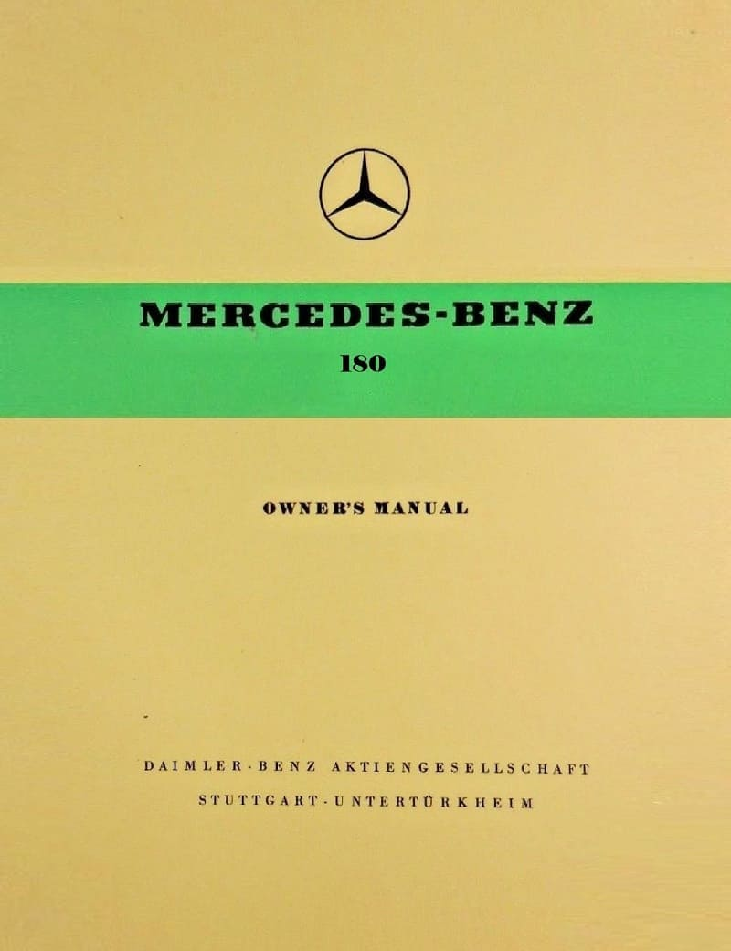 Mercedes Benz W120 180 Owners Manual