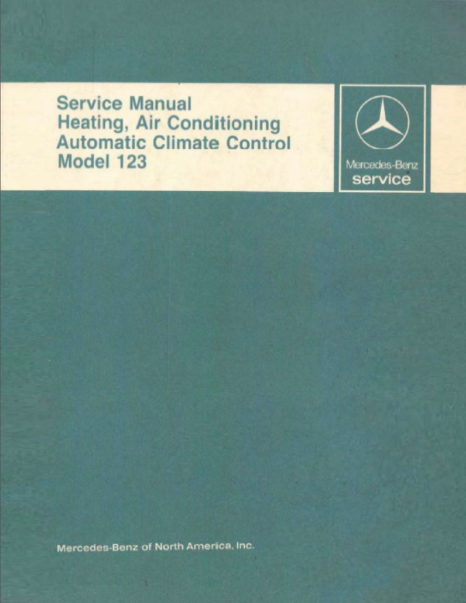 Mercedes W123 Cimate Control Manual