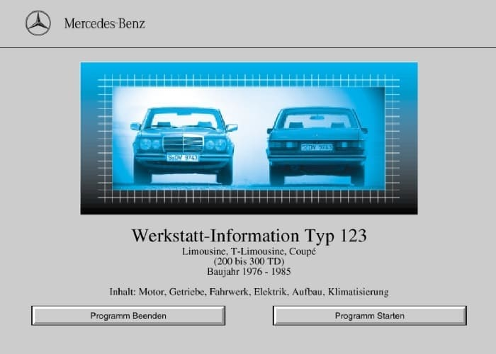 Mercedes W123 German Service Repair Manuals