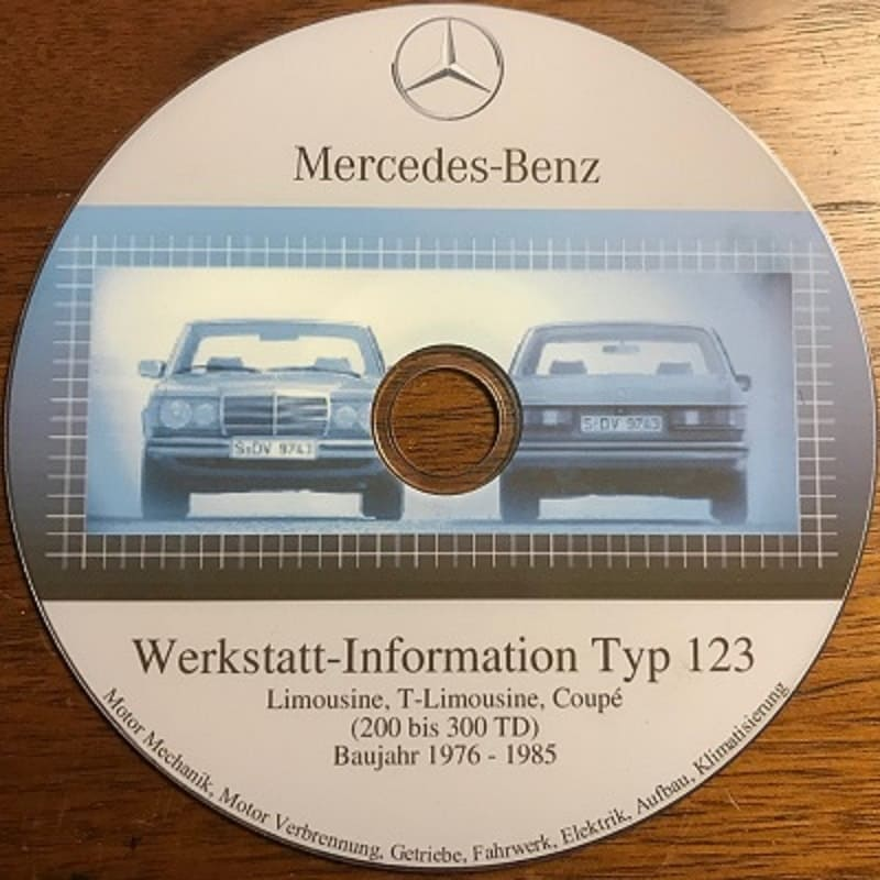 Mercedes W123 German Workshop Manuals CD