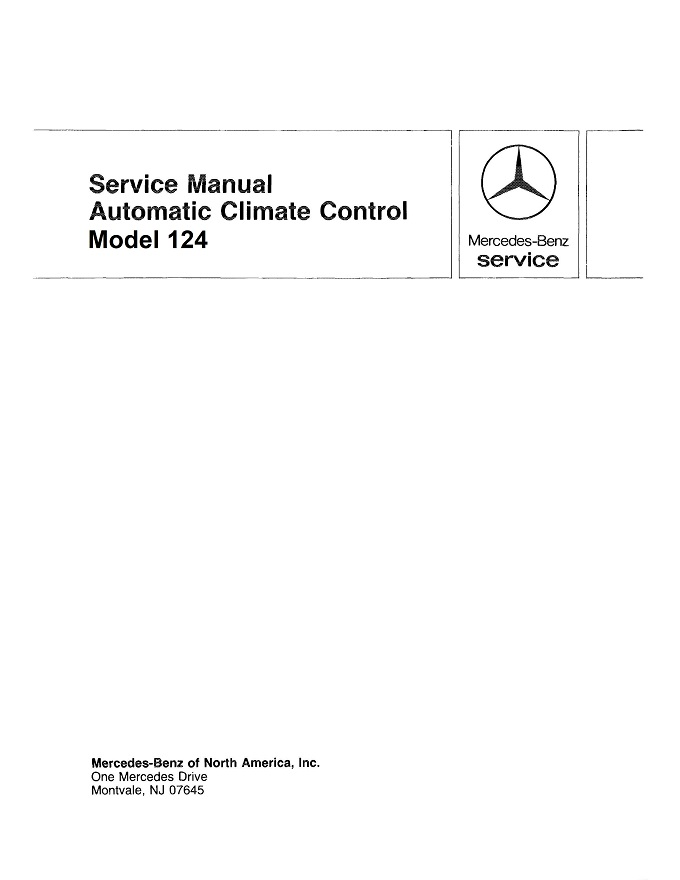 Mercedes W124 Climate Control Manual