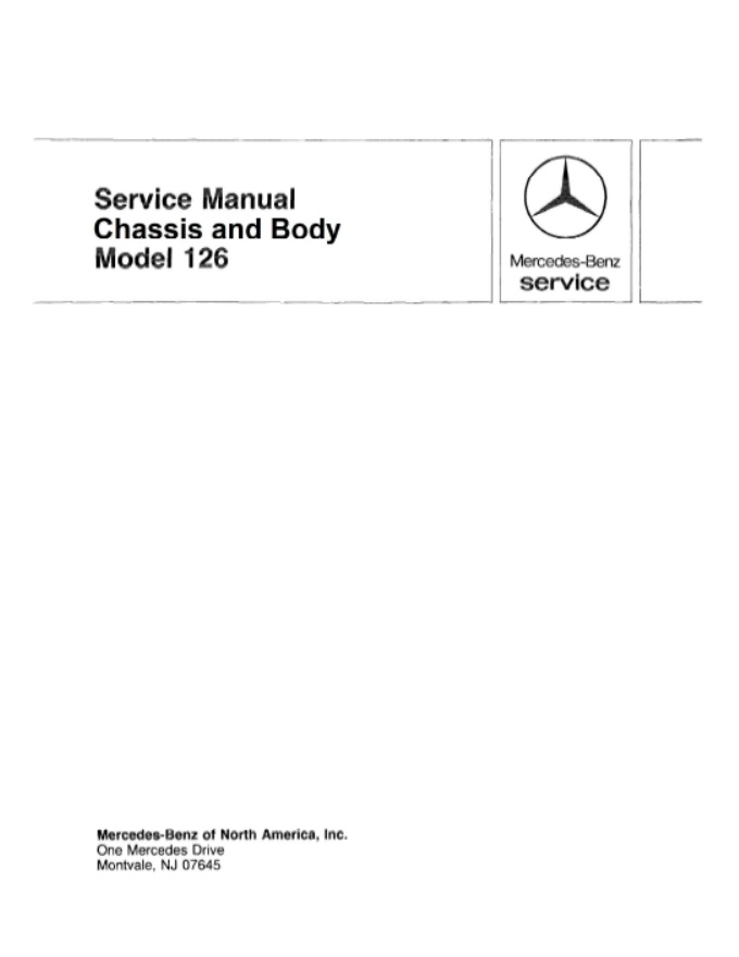 Mercedes W126 Chassis Body Manual