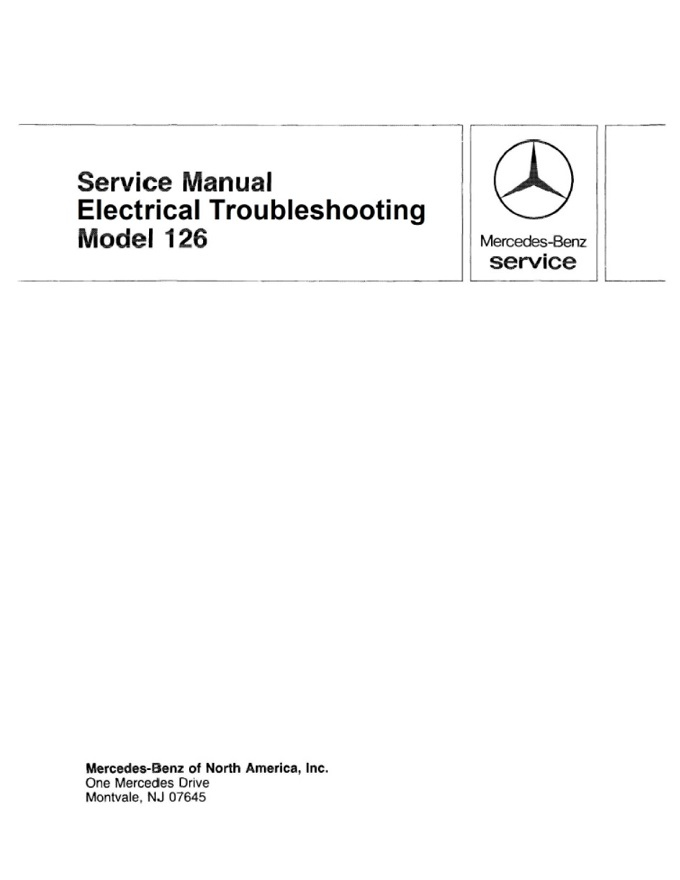 Mercedes W126 Electrical Manual