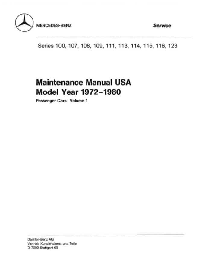 Mercedes Benz W 123 80-82 Betriebsanleitung