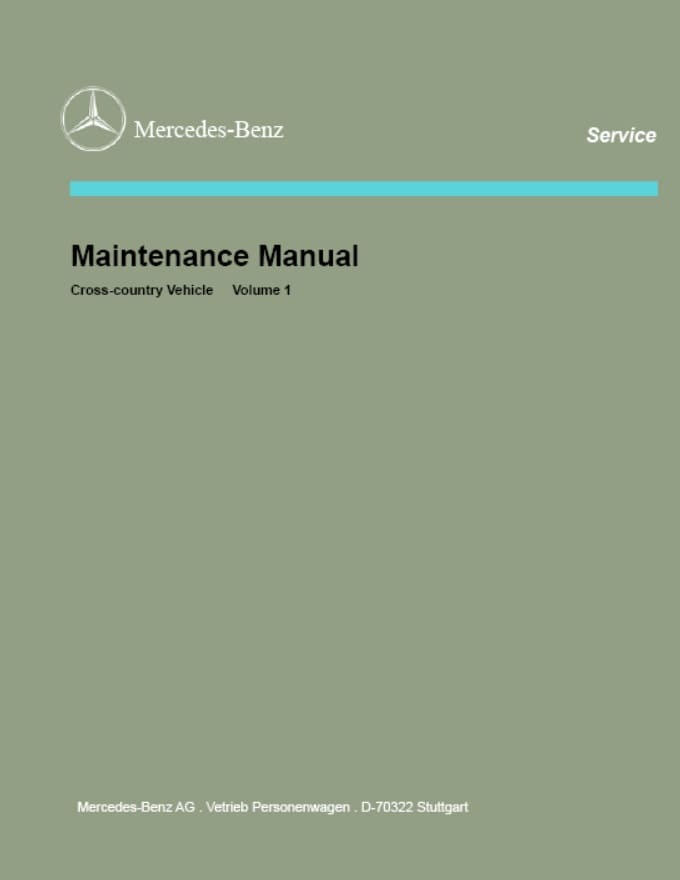 Mercedes W460 W461 W463 Service Maintenance Manual