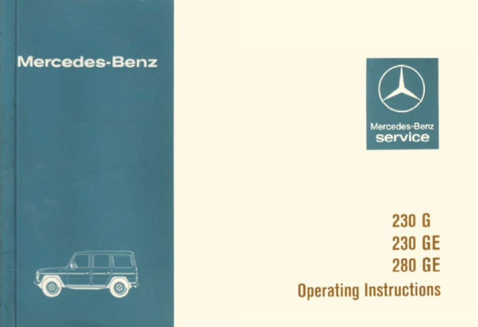 Mercedes W460 230 G, 230 GE, 280 GE Owners Manual