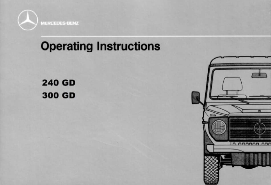 Mercedes W460 240 GD, 300 GD Owners Manual