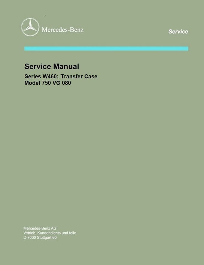 Mercedes W460 750 VG-080 Transfer Case Manual