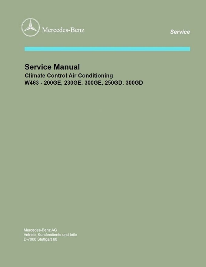 Mercedes W463 Climate Control Air Conditioning Manual