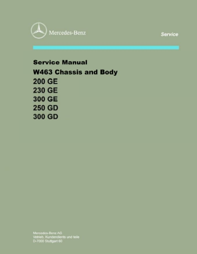 Mercedes W463 Chassis Body Manual