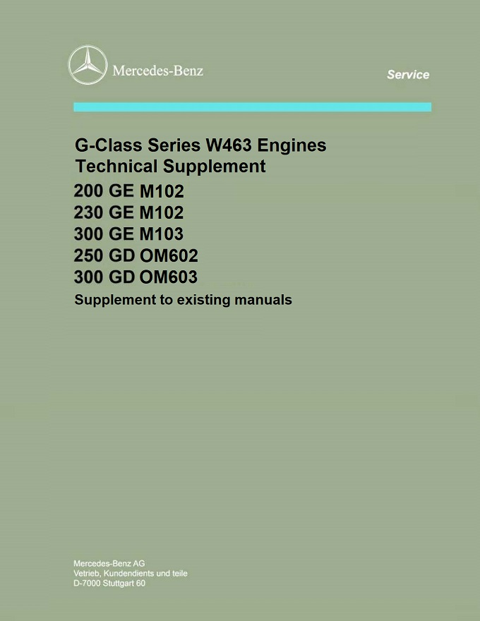 Mercedes Series W463 Engine Manuals Technical Supplement