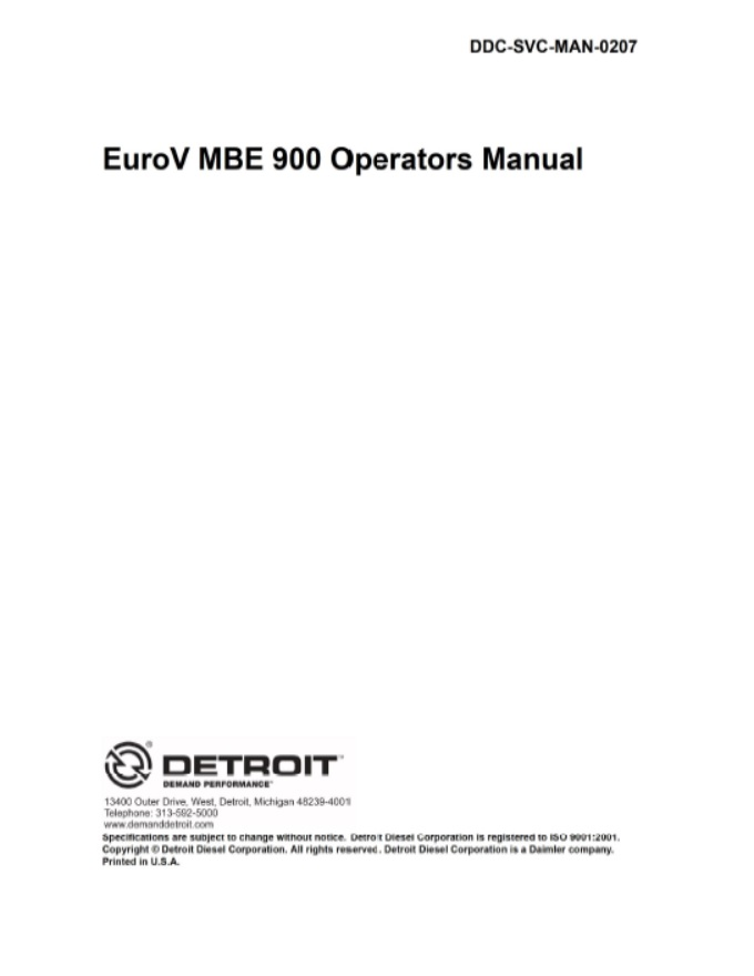 Mercedes Benz Mbe900 Diesel Engine Service Repair Manual  Pdf